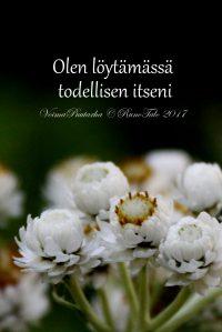 Olen löytämässä todellisen itseni, helminukkajäkkärä voimakortti, runotalo.fi