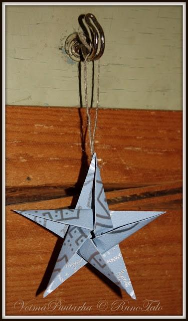 Runotalon jouluinen tähti - origami askarteluohje joulukortiksi
