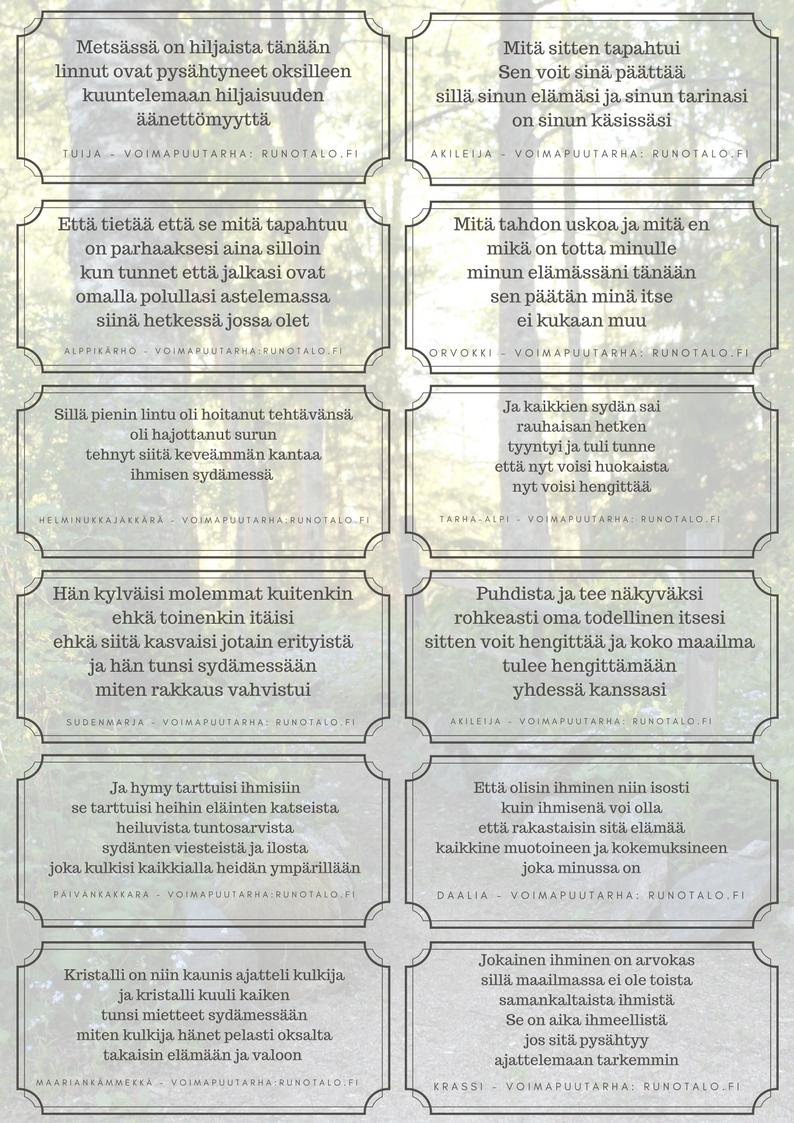 12 voimarunoa poluille