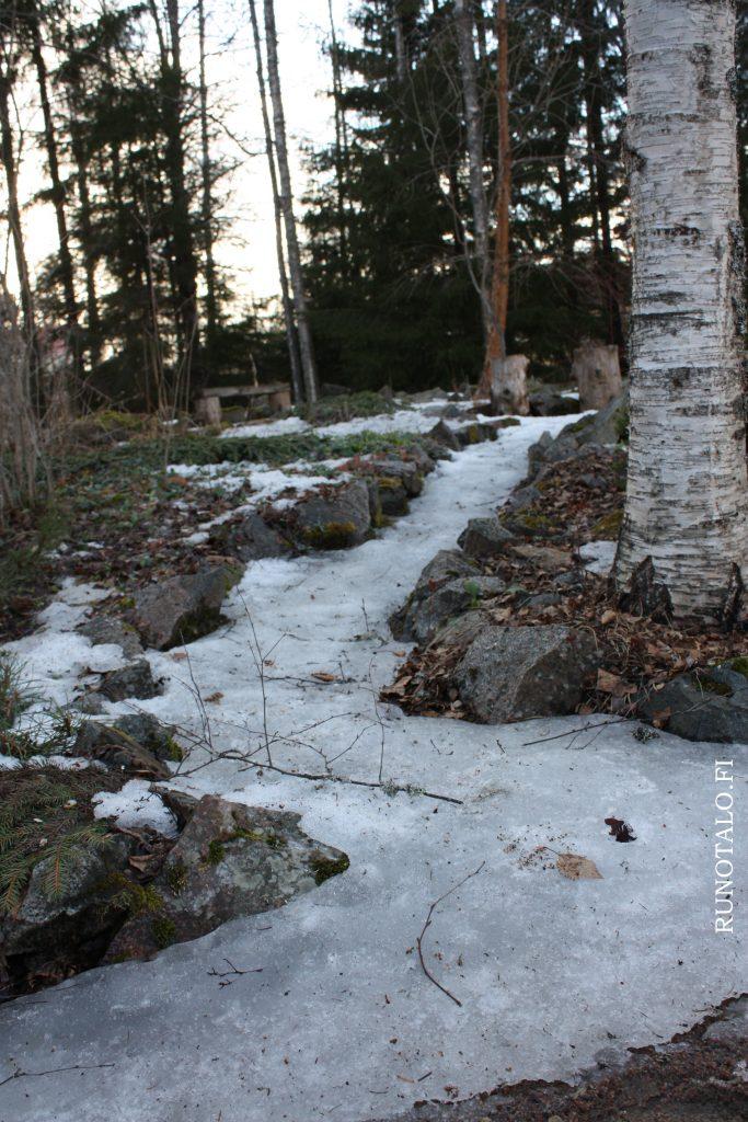 Voimapuutarhan runopolku on jäässä huhtikuussa