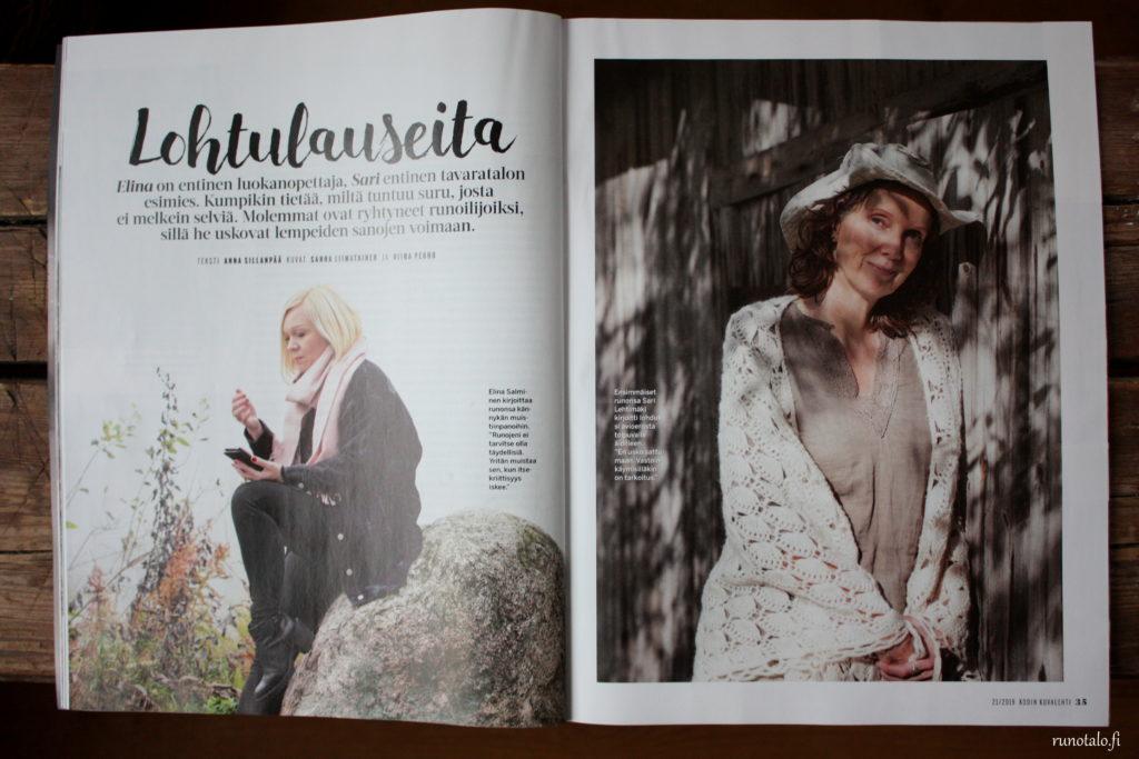 Kodin Kuvalehti Lohtulauseita haastattelussa Sari Lehtimäki ja Elina Salminen