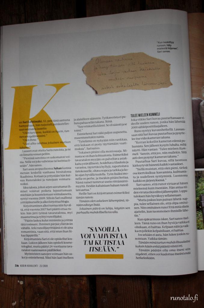 Kodin Kuvalehti Lohtulauseita haastattelussa Sari Lehtimäki