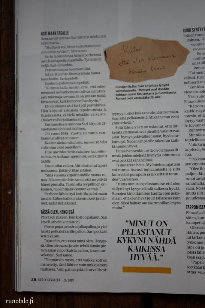 Kodin Kuvalehti Lohtulauseita Runotalon Sarin haastattelu