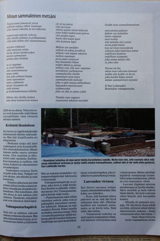 Sielunpeili lehdessä Runotalon Sarin voimapuutarhasta