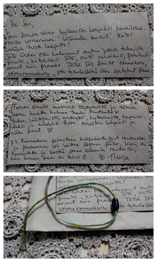 Voimarannekoru ja yllätyskirje Mirjalta